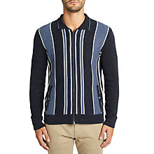 Buy BOSS Ainton Stripe Full Zip Cardigan, Open Blue Online at johnlewis.com