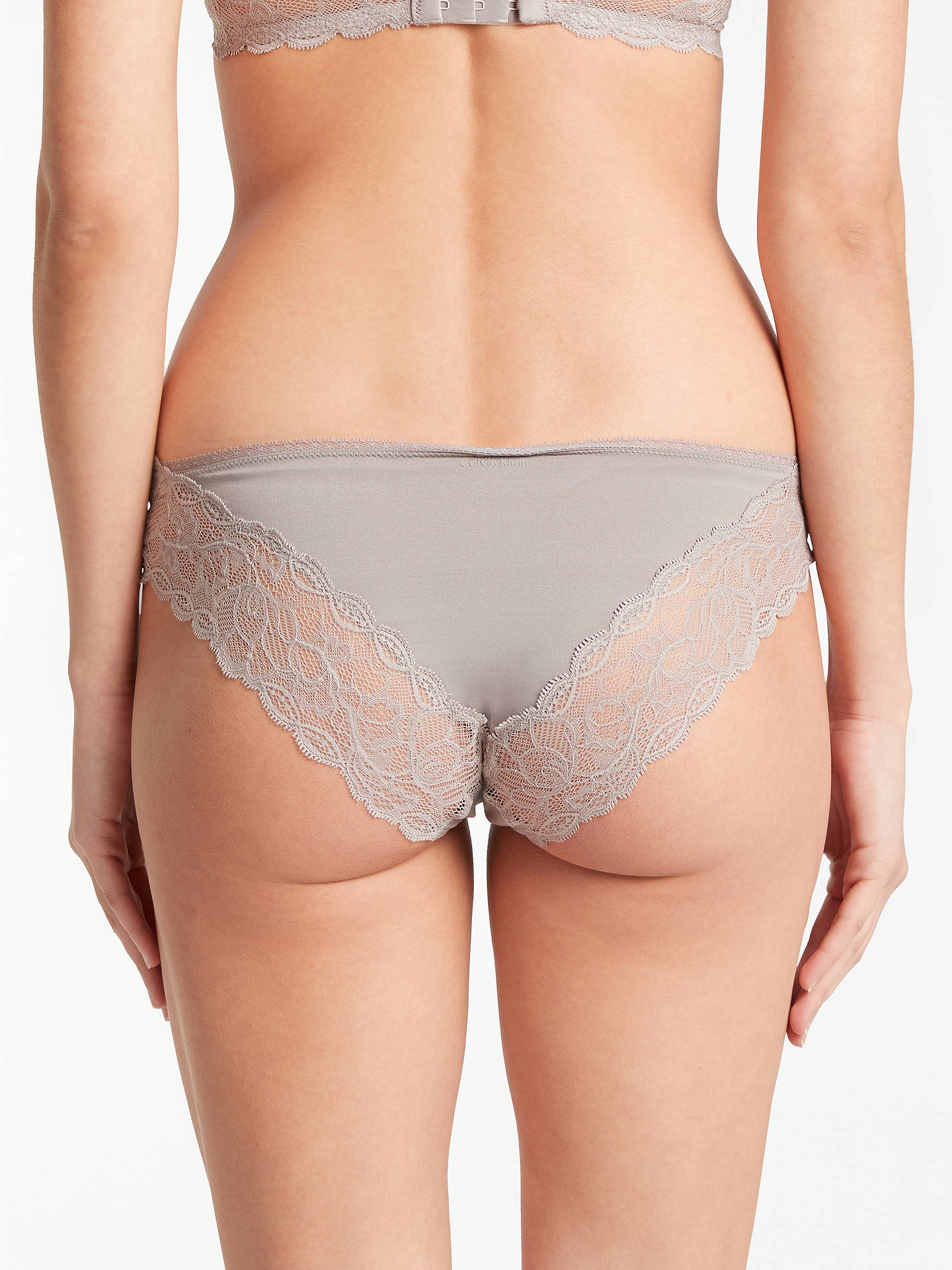 Buy Calvin Klein Underwear Seductive Comfort Lace Bikini Briefs, Grey Sand, L Online at johnlewis.com