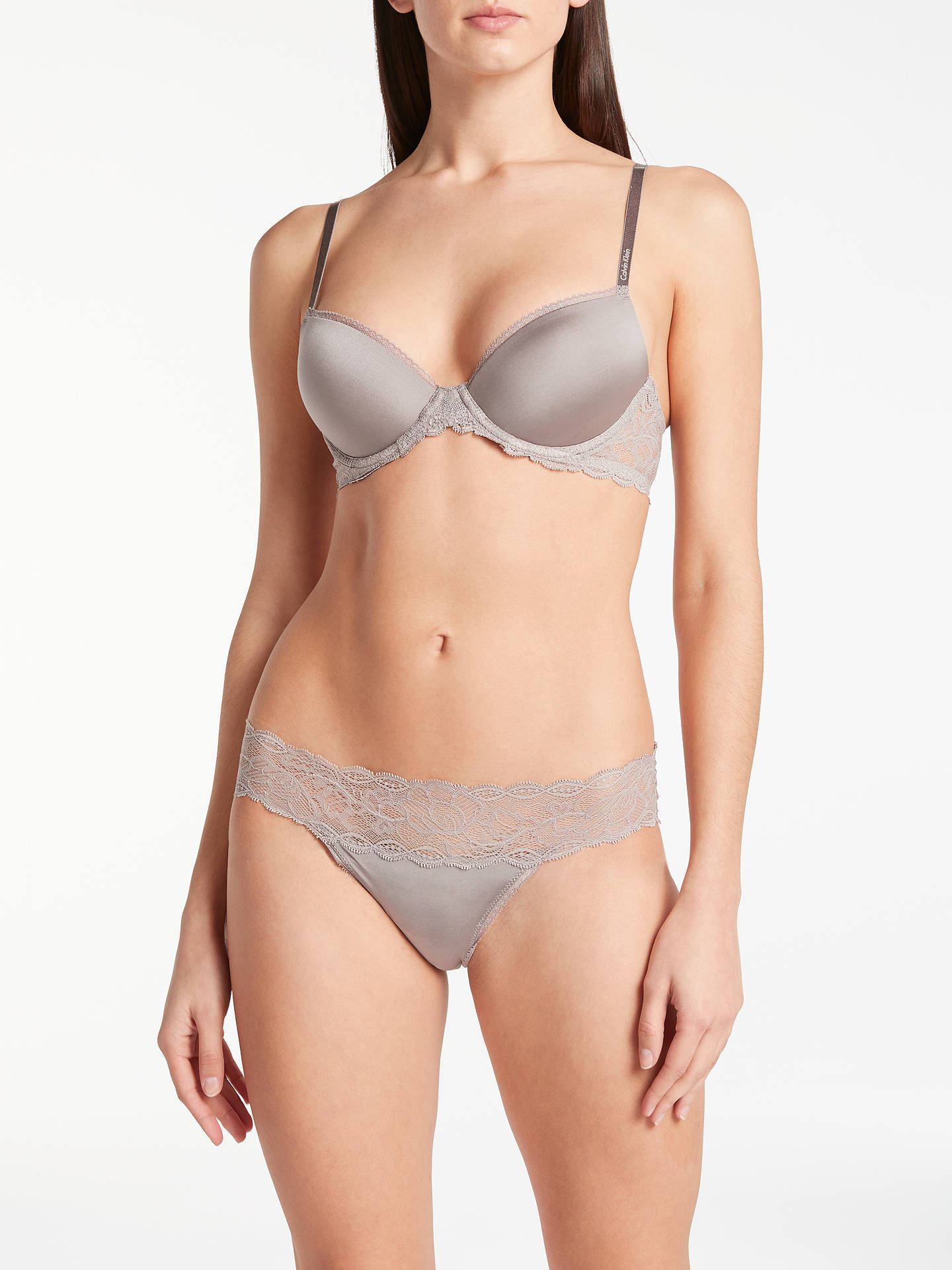 Buy Calvin Klein Underwear Seductive Comfort Lace Bikini Briefs, Grey Sand, S Online at johnlewis.com