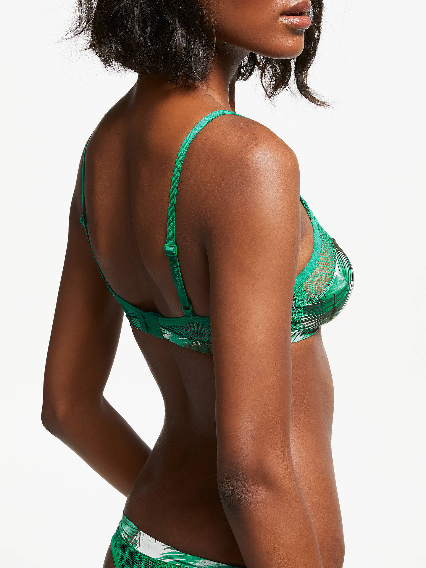 BuyCalvin Klein Underwear Youthful Palm Print Triangle Bra, Green, S Online at johnlewis.com
