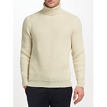 Buy JOHN LEWIS & Co. Ribbed Lambswool Jumper, Cream Online at johnlewis.com
