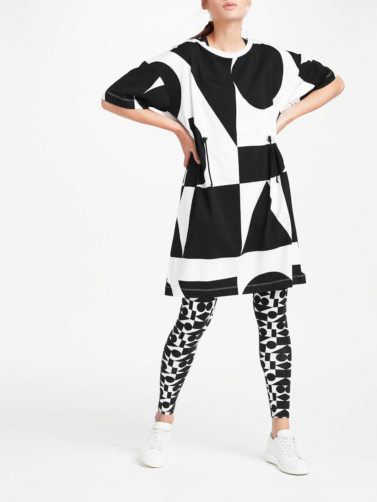 BuyPATTERNITY + John Lewis Oversized Print Drawcord Dress, Black/White, XS Online at johnlewis.com