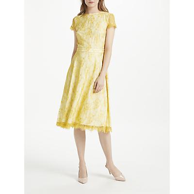 Bruce by Bruce Oldfield Lace Short Sleeve Dress, Lemon