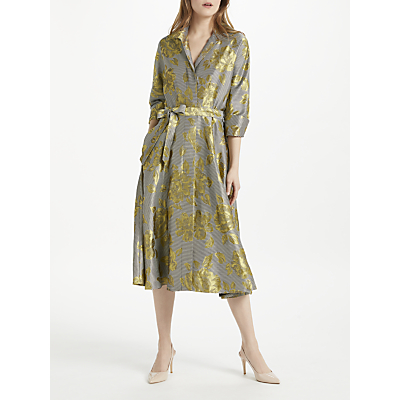 Bruce by Bruce Oldfield Floral Jacquard Shirt Dress, Yellow/Black