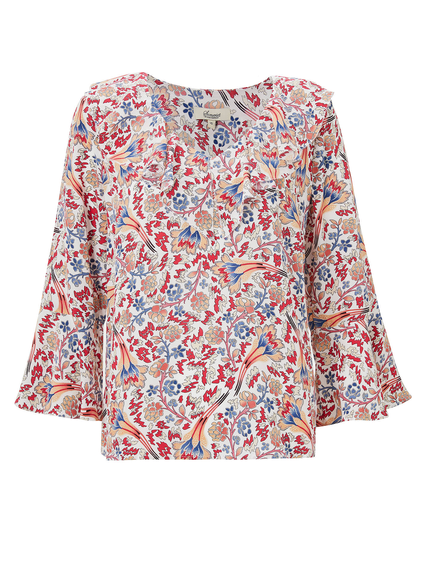 Buy Somerset by Alice Temperley Fireflower Frill Blouse, White Mix, 8 Online at johnlewis.com