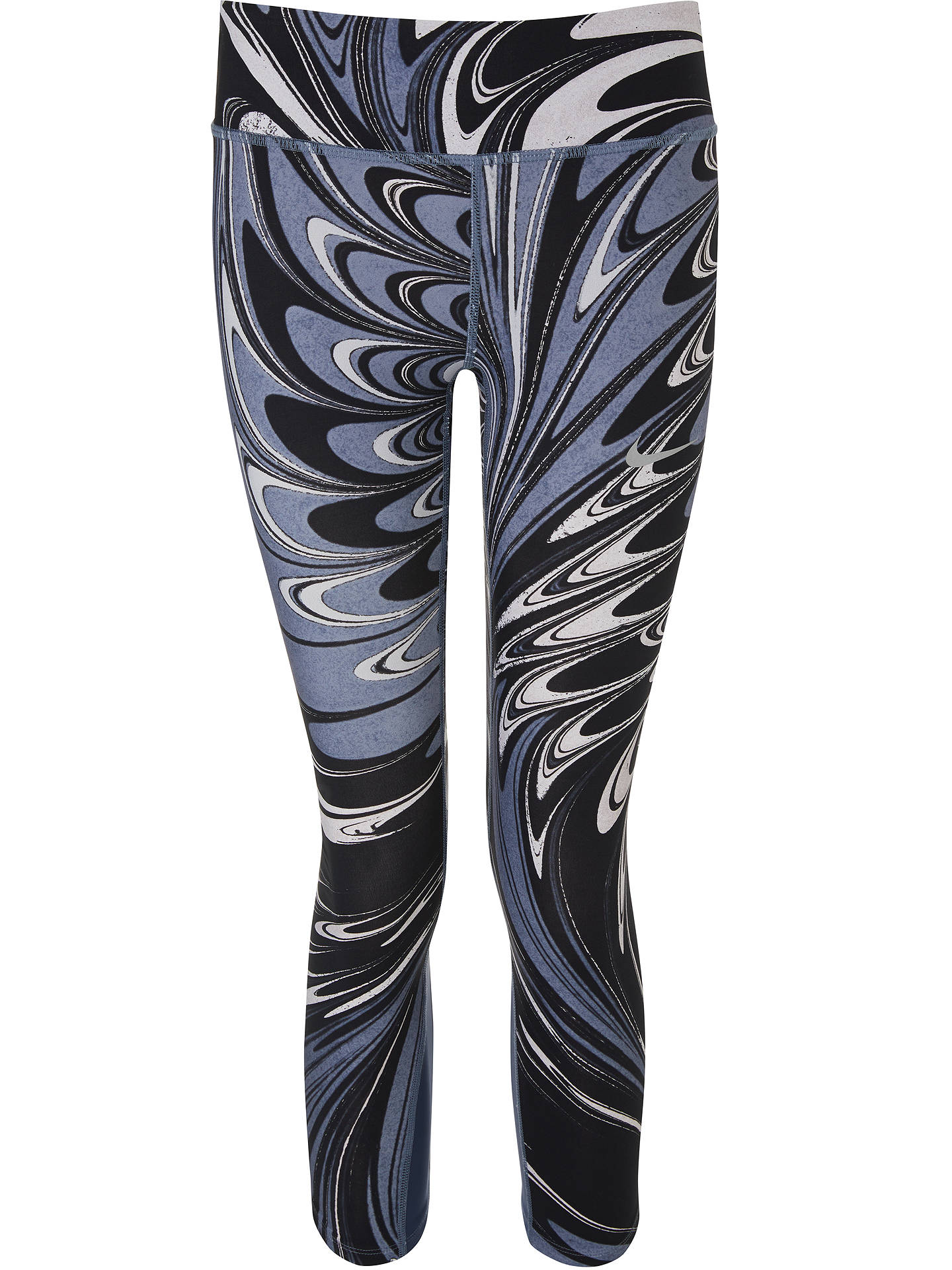 BuyNike Power Epic Lux Printed Cropped Running Tights, Thunder Blue/Black, XS Online at johnlewis.com