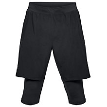 Buy Under Armour Launch SW Long Running Shorts, Black/Reflective Silver Online at johnlewis.com