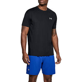 Under Armour Cool Down Short Sleeve Running Top, Black/Reflective Silver