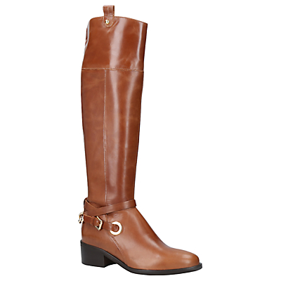 Product photo of Carvela wrap knee high boots tan leather