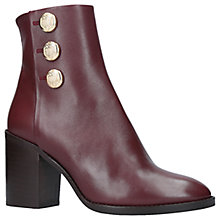Buy Kurt Geiger Dante Block Heeled Ankle Boots, Red Leather Online at johnlewis.com