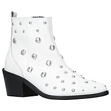 Buy Kurt Geiger Dome Embellished Block Heeled Ankle Boots, White Leather Online at johnlewis.com