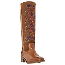 Buy Bertie Tilde Embroidered Knee High Boots, Tan Suede/Leather Online at johnlewis.com