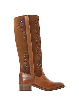Bertie Tilde Embroidered Knee High Boots, Tan Suede/Leather
