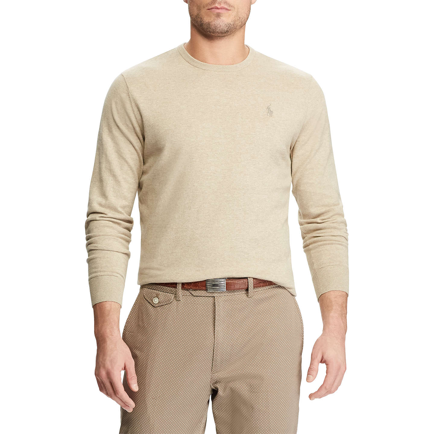 BuyPolo Golf by Ralph Lauren Long Sleeve Crew Neck Sweater, Expedition Dune Heather, S Online at johnlewis.com