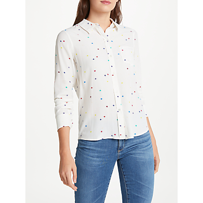 Rails Kate Star Printed Silk Shirt, White Rainbow