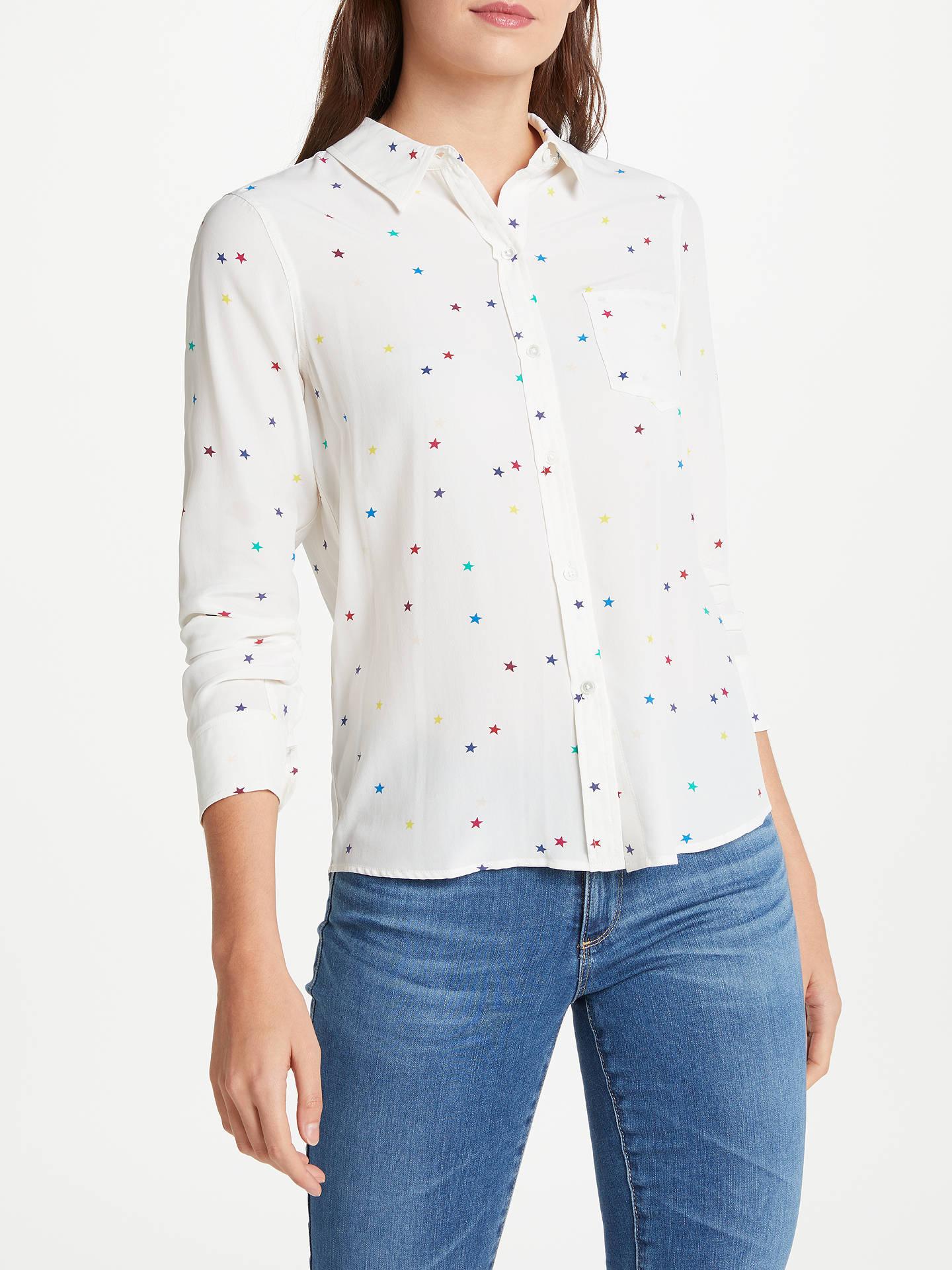 283384f97075b6 Buy Rails Kate Star Printed Silk Shirt, White Rainbow, XS Online at  johnlewis.
