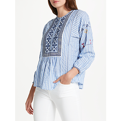 Joie Archana Embroidered Blouse, Blue