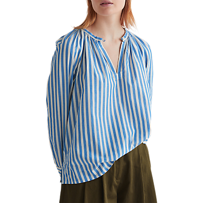 Toast Olivia Raglan Striped Top, Ice Blue/Bone