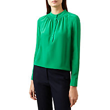 Buy Hobbs Kali Silk Blouse, Apple Green Online at johnlewis.com