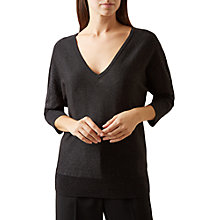 Buy Hobbs Marla Rich Wool Knitted Sweater, Black Gold Online at johnlewis.com