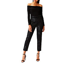 Buy Coast Ivana Jacquard Trousers, Black Online at johnlewis.com