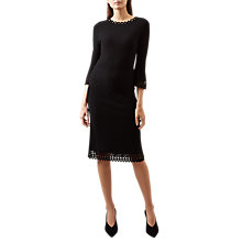 Buy Hobbs Myra Laser Cut Detail Bell Sleeve Dress, Black Online at johnlewis.com