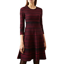 Buy Hobbs Joellle Knitted Dress, Burgundy Black Online at johnlewis.com