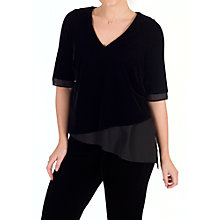 Buy Chesca V-Neck Short Sleeve Asymmetric Velvet Top, Black Online at johnlewis.com
