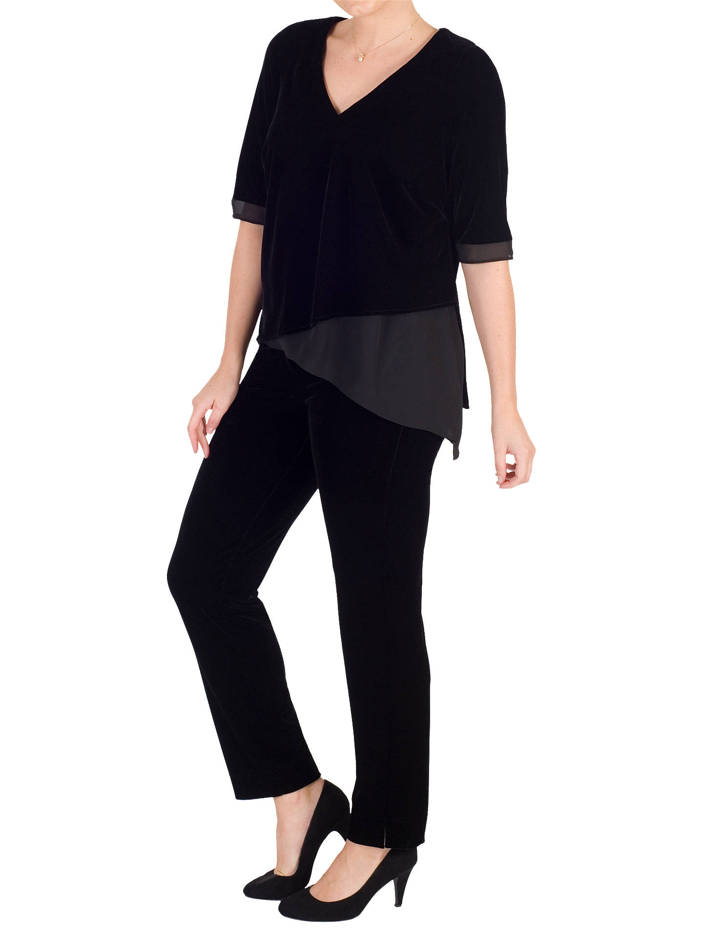 BuyChesca V-Neck Short Sleeve Asymmetric Velvet Top, Black, 14 Online at johnlewis.com
