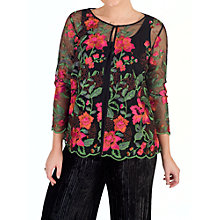 Buy Chesca Scallop Trim Embroidered Jacket, Black/Pink Online at johnlewis.com