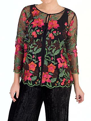 Chesca Scallop Trim Embroidered Jacket, Black/Pink