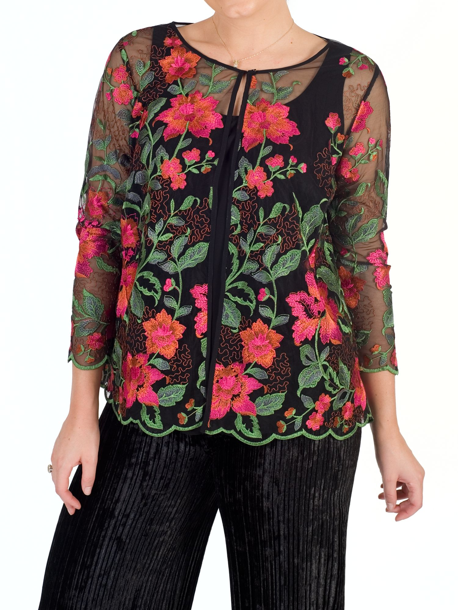 Chesca Chesca Scallop Trim Embroidered Jacket, Black/Pink