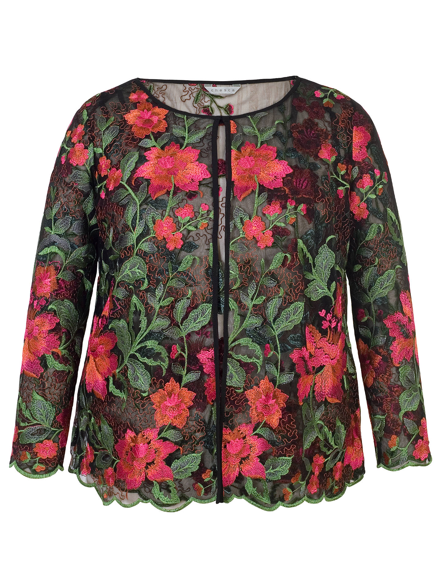 BuyChesca Scallop Trim Embroidered Jacket, Black/Pink, 12 Online at johnlewis.com