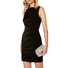 Buy Karen Millen Panelled Satin Pencil Dress, Black Online at johnlewis.com