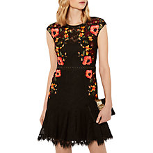 Buy Karen Millen Embroidered Lace Peplum Dress, Black/Multi Online at johnlewis.com