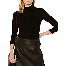 Buy Karen Millen Stud Knitted Jumper, Black Online at johnlewis.com