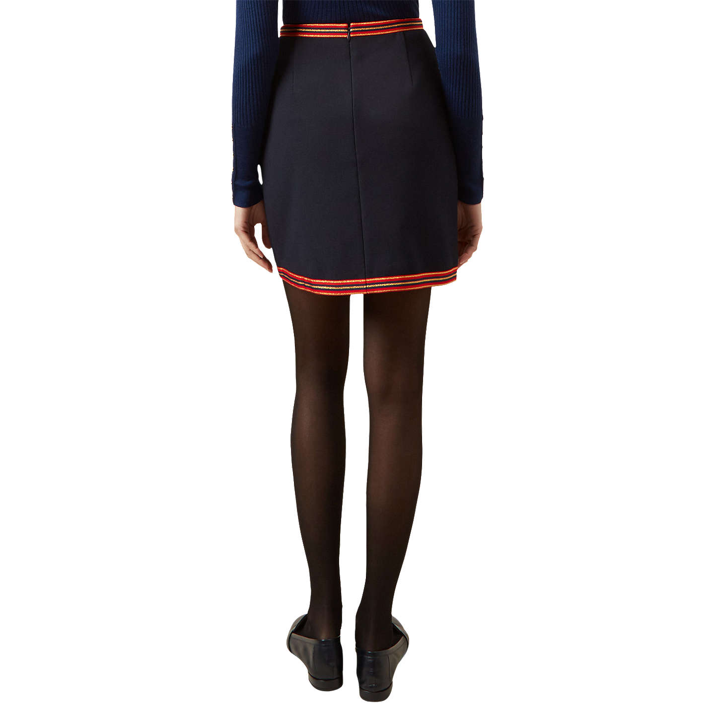 BuyHobbs Marisa Cotton Rich Mini Skirt, Navy/Multi, 16 Online at johnlewis.com