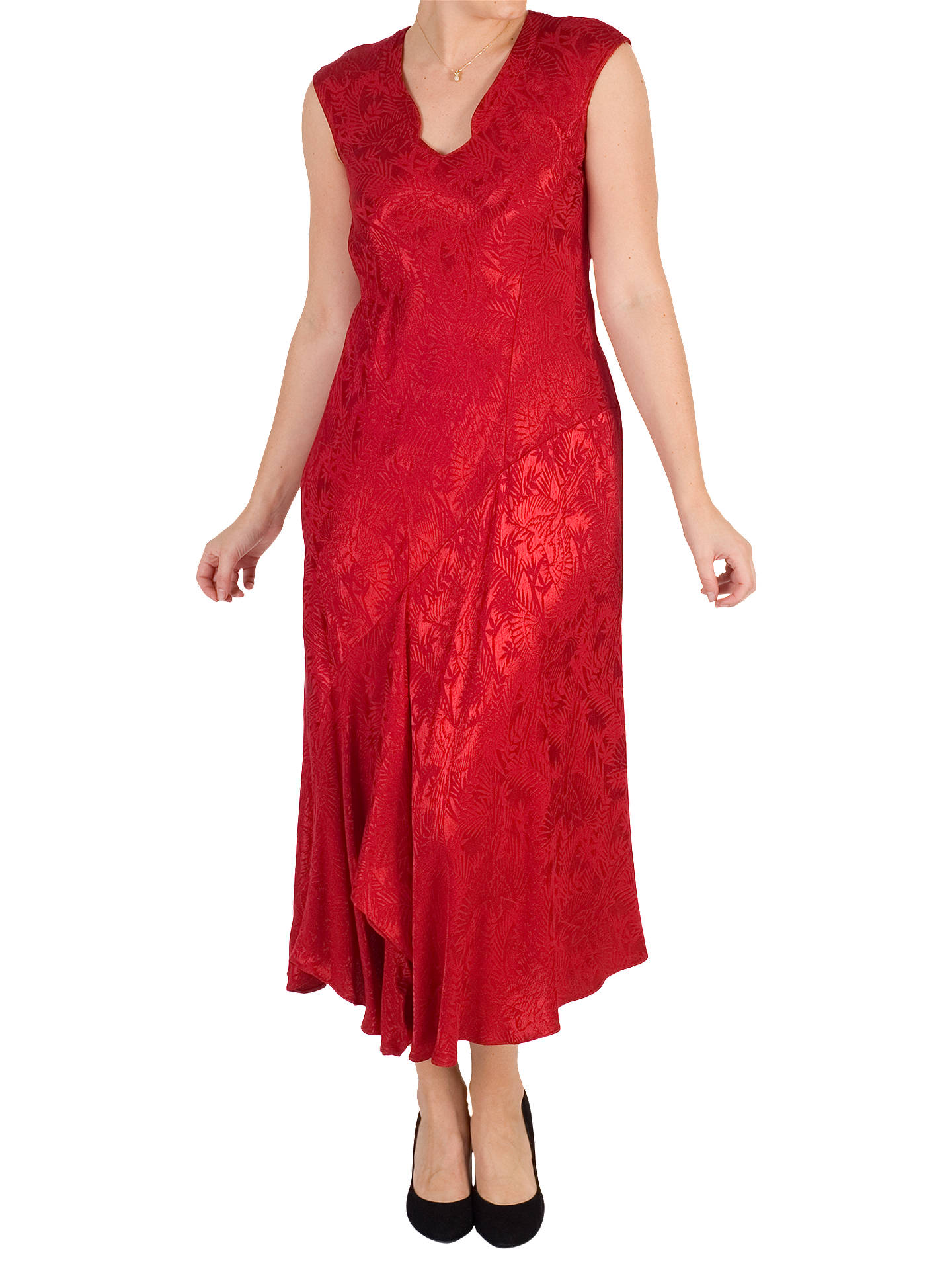 BuyChesca Satin Back Crepe Jacquard Dress, Ruby, 12-14 Online at johnlewis.com