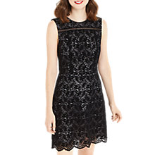 Buy Oasis NTU Flocked Lace Shift Dress, Black Online at johnlewis.com
