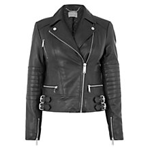 Buy Oasis Leather Biker Jacket, Black Online at johnlewis.com