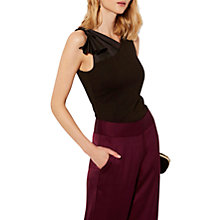 Buy Karen Millen Satin Shoulder Top, Black Online at johnlewis.com