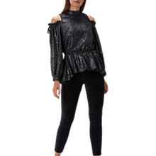 Buy Coast Raven Cold Shoulder Top, Black Online at johnlewis.com