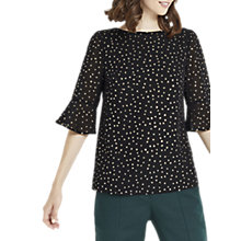 Buy Oasis Twinkle Flute Sleeve Top, Black Online at johnlewis.com