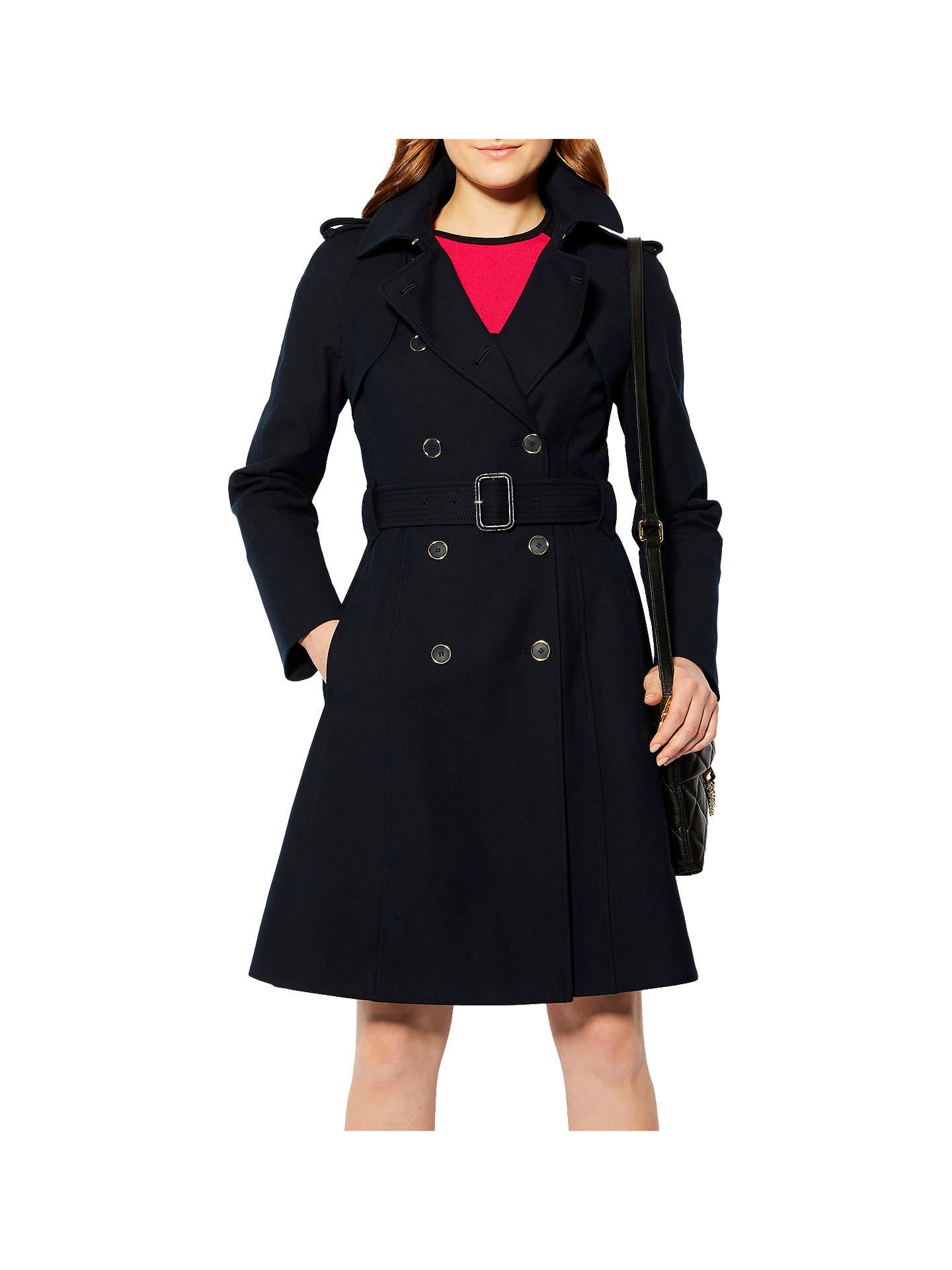 Karen Millen Belt Trench Coat, Black at John Lewis & Partners