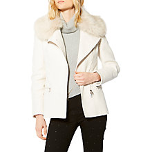 Buy Karen Millen Faux Fur Biker Jacket, Stone Online at johnlewis.com
