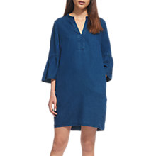 Buy Whistles Peyton Fluted Sleeve Dress, Denim Online at johnlewis.com