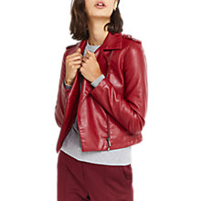 Buy Oasis Lucy Faux Leather Biker Jacket, Burgundy Online at johnlewis.com