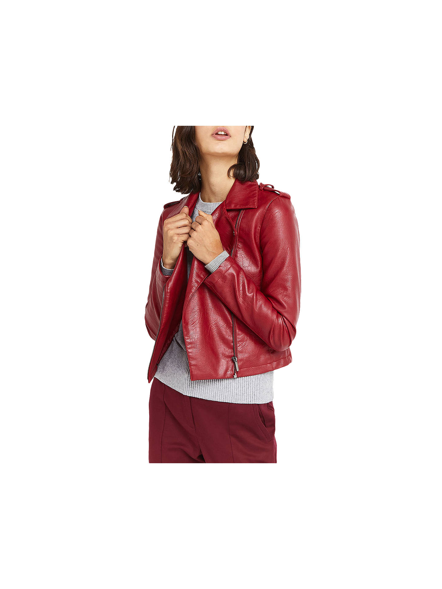 1402fc38267b Buy Oasis Lucy Faux Leather Biker Jacket, Burgundy, XS Online at  johnlewis.com ...