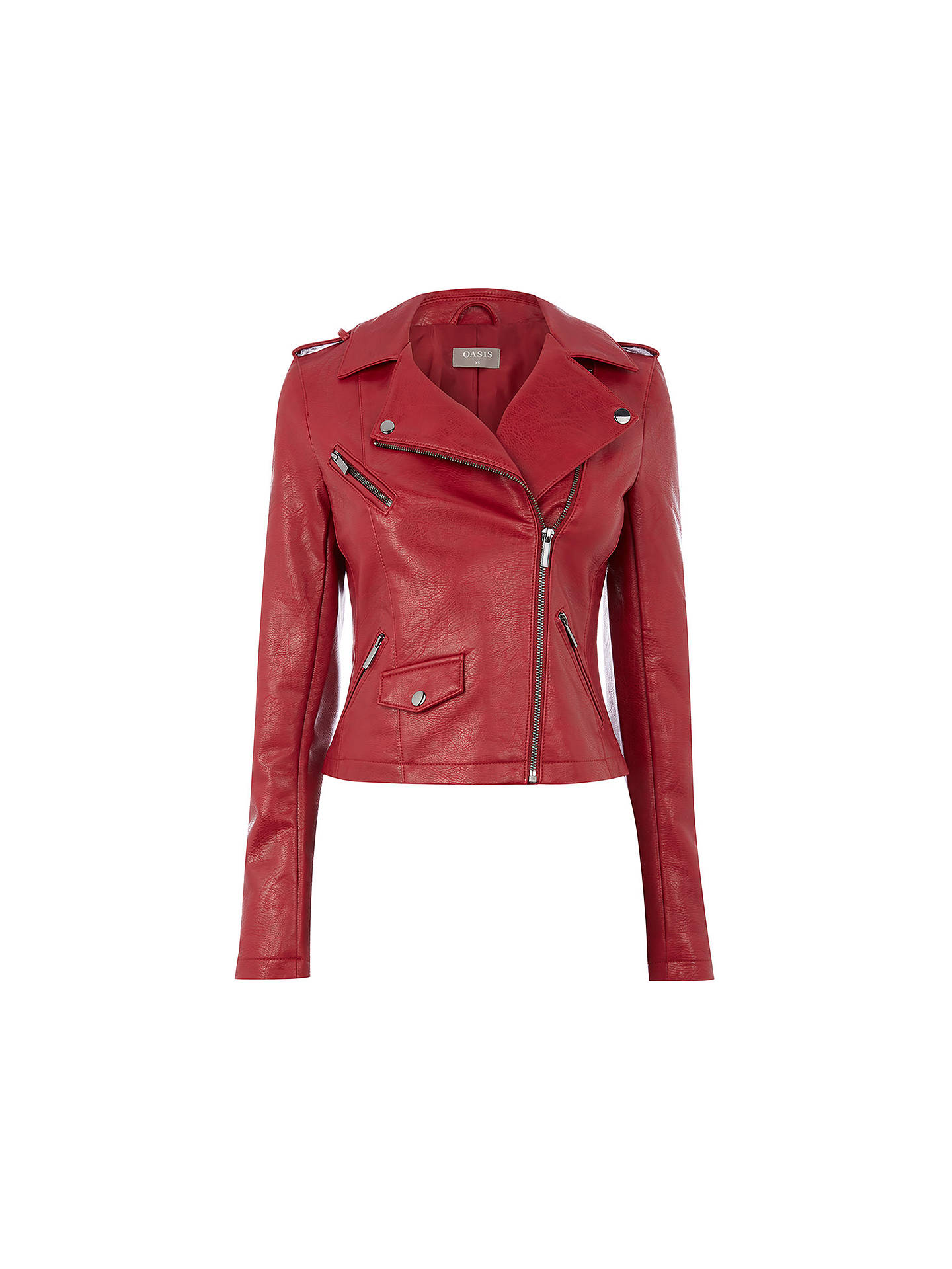 a858259915f2 ... Buy Oasis Lucy Faux Leather Biker Jacket, Burgundy, XS Online at  johnlewis.com ...