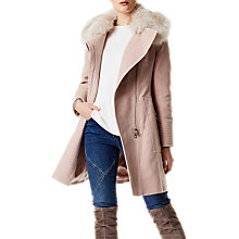 Buy Karen Millen Faux Fur Wrap Coat, Pale Pink Online at johnlewis.com